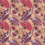 Il modello senza cuciture con la carta asiatica tradizionale della mano smazza Fotografie Stock