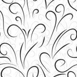 Il modello senza cuciture con la curva nera e grigia allinea sui precedenti bianchi di colore illustrazione di stock