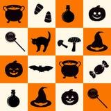 Il modello senza cuciture con la festa nera di Halloween ha collegato le siluette degli oggetti sul fondo della scacchiera illustrazione vettoriale