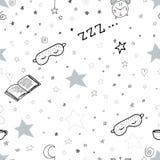 Il modello senza cuciture con la tazza dell'orologio del libro della maschera di sonno degli elementi di ora di andare a letto di royalty illustrazione gratis
