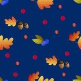Il modello senza cuciture con le ghiande, i mirtilli e la quercia di autunno va illustrazione di stock