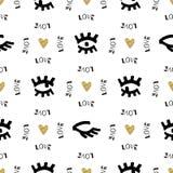 Il modello senza cuciture creativo, schizzo osserva l'indicatore nero disegnato a mano, cuori dell'oro Immagini Stock