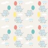 Il modello senza cuciture dei bambini con gli elefanti, le nuvole ed i palloni Disegno di vettore illustrazione di stock