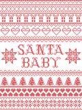 Il modello senza cuciture del canto natalizio del bambino di Santa del modello di Natale ha ispirato entro l'inverno festivo dell illustrazione di stock