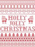 Il modello senza cuciture del canto natalizio di Holly Jolly Christmas del modello di Natale ha ispirato entro l'inverno festivo  illustrazione vettoriale
