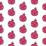 Il modello senza cuciture del melograno disegnato a mano per i bambini progetta la dieta organica dell'alimento naturale e le ins royalty illustrazione gratis