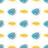 Il modello senza cuciture del pesce tropicale esotico colora l'illustrazione di vettore isolata piano acquatico subacqueo della n Fotografia Stock