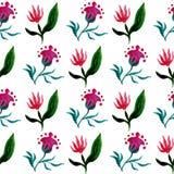 Il modello senza cuciture dell'acquerello con il tulipano e la fantasia fioriscono su fondo bianco Illustrazione di vettore dell' Fotografie Stock