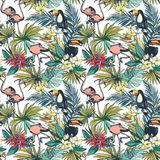 Il modello senza cuciture dell'estate floreale tropicale con Palm Beach va, Immagine Stock Libera da Diritti