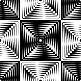Il modello senza cuciture della marezzatura di vettore astratto con grata cubica allinea Ornamento in bianco e nero grafico monoc Fotografie Stock Libere da Diritti