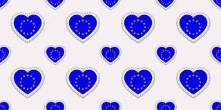Il modello senza cuciture delle bandiere di Unione Europea Stikers della bandiera di vettore UE Simboli dei cuori di amore Viaggi illustrazione di stock