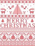 Il modello senza cuciture di Buon Natale del modello di Natale ha ispirato entro l'inverno festivo della cultura nordica in punto royalty illustrazione gratis