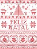 Il modello senza cuciture di Feliz Natal del modello di Natale ha ispirato entro l'inverno festivo della cultura nordica in punto illustrazione di stock