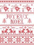Il modello senza cuciture di Joyeux Noel del modello di Natale ha ispirato entro l'inverno festivo della cultura nordica in punto royalty illustrazione gratis