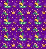 Il modello senza cuciture di Mardi Gras Carnival con la maschera mette le piume a, incorona, clown cappello fondo senza fine, str illustrazione di stock