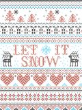Il modello senza cuciture di Natale lo ha lasciato nevicare stile scandinavo, ispirato dal Natale norvegese, l'inverno festivo in illustrazione di stock