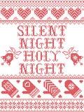 Il modello senza cuciture di notte santa silenziosa di notte ha ispirato entro l'inverno festivo della cultura nordica in punto t royalty illustrazione gratis
