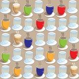 Il modello senza cuciture di ripetizione delle tazze e dei bicchieri d'acqua di tè delle tazze di caffè in Red Green blu ingialli Fotografia Stock