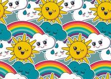 Il modello senza cuciture di vettore con il sole sorridente sveglio, l'arcobaleno, la nuvola, goccia di pioggia affronta illustrazione vettoriale