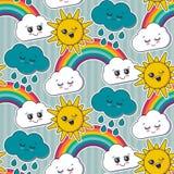Il modello senza cuciture di vettore con il sole sorridente sveglio, l'arcobaleno, nuvola affronta illustrazione vettoriale