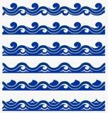 Il modello senza cuciture marino con il blu stilizzato ondeggia su un fondo leggero Arte di progettazione di vettore dell'estratt royalty illustrazione gratis