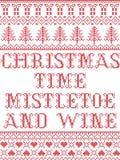 Il modello senza cuciture scandinavo del vischio e del vino di tempo di Natale ha ispirato entro l'inverno festivo della cultura  illustrazione di stock