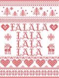 Il modello senza cuciture scandinavo di Natale di Falalalala ha ispirato entro l'inverno festivo della cultura nordica in punto t illustrazione vettoriale