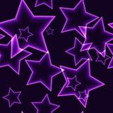 Il modello senza cuciture scuro con il profilo al neon porpora stars Immagini Stock