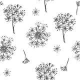 Il modello senza cuciture semplice con i fiori botanici realistici del ginseng di schizzo dell'inchiostro solated sulla raccolta  illustrazione di stock