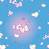 Il modello senza cuciture si appanna sotto forma di amore di parola, di cuori rosa e di uccello bianco su un fondo blu Immagine Stock Libera da Diritti