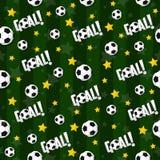 Il modello senza cuciture sul tema di calcio Fotografia Stock Libera da Diritti