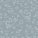 Il modello senza cuciture sveglio con il cupido spara un arco ed i cuori Simbolo di amore Progettazione per l'insegna, il manifes illustrazione vettoriale
