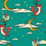 Il modello senza cuciture sveglio con lo scarabocchio foxes sui palloni che volano in cielo Fotografie Stock