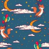 Il modello senza cuciture sveglio con lo scarabocchio foxes sui palloni che volano in cielo Fotografia Stock Libera da Diritti
