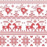 Il modello trasversale nordico del punto di Natale compreso la renna, il fiocco di neve, la stella, l'albero di natale, campana,  Immagini Stock Libere da Diritti
