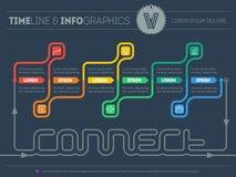 Il modello Web della cronologia di Infographic circa si collega con di sei parti Fotografie Stock