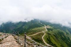 Il modo all'più alta montagna nel parco nazionale di Krkonose Fotografie Stock Libere da Diritti