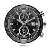 Il modo bianco rosso dell'acciaio inossidabile di orologio del fronte del cronografo nero realistico dell'orologio in senso orari Fotografie Stock