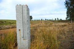 Il modo a Santiago, Camino de Santiago, monolito del granito Fotografia Stock