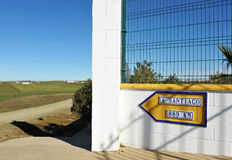 Il modo a Santiago, distanza a Santiago de Compostela Fotografie Stock
