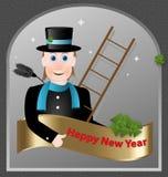 Il modulo di saluti di nuovo anno camino-scopa Fotografie Stock Libere da Diritti