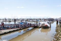 Il molo del pescatore al villaggio di Steveston a Richmond, BC Fotografia Stock Libera da Diritti