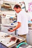Il molo del pescatore al villaggio di Steveston a Richmond, BC fotografia stock
