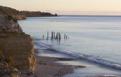 Il molo rovina - porto Willunga, Australia Meridionale - l'ora dorata Fotografie Stock Libere da Diritti