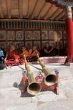 Il monaco ed i musicisti al festival in gompa di Hemis (monastero), Ladakh, India Immagine Stock