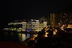 Il Monaco Monte Carlo di notte Fotografia Stock Libera da Diritti
