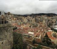 Il Monaco, Monte Carlo un giorno nuvoloso dalla cima del palazzo Fotografie Stock Libere da Diritti