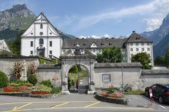 Il monastero di Engelberg sulle alpi svizzere Fotografie Stock