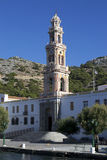 Il monastero nel villaggio Panormitis Fotografia Stock Libera da Diritti