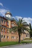 Il monastero ortodosso antico sopra il cielo Immagini Stock
